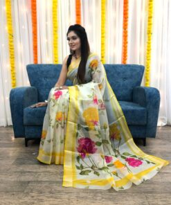 Organza Silk Floral Saree with Foil Outline Work 01