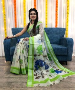 Organza Silk Floral Saree with Foil Outline Work 02