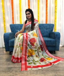 Organza Silk Floral Saree with Foil Outline Work 03