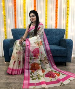Organza Silk Floral Saree with Foil Outline Work 04